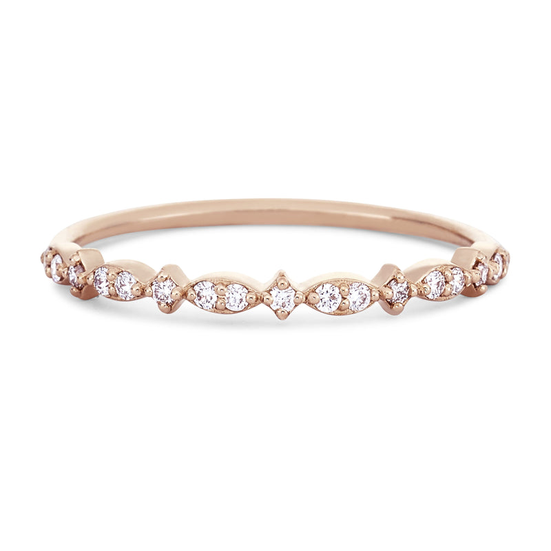 New Lausanne Ring - 14k Rose Gold, White Diamond