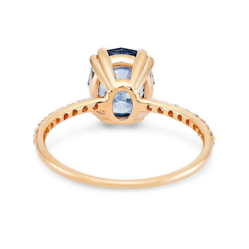 Dream of you one of a kind - 14k yellow gold, cornflower blue artist cut oval montana sapphire ring