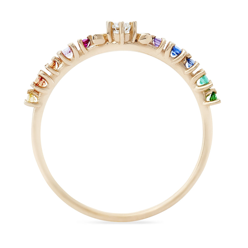 Rainbow Stardust Ring - 14k Yellow Gold, White Diamond, Rainbow Stones