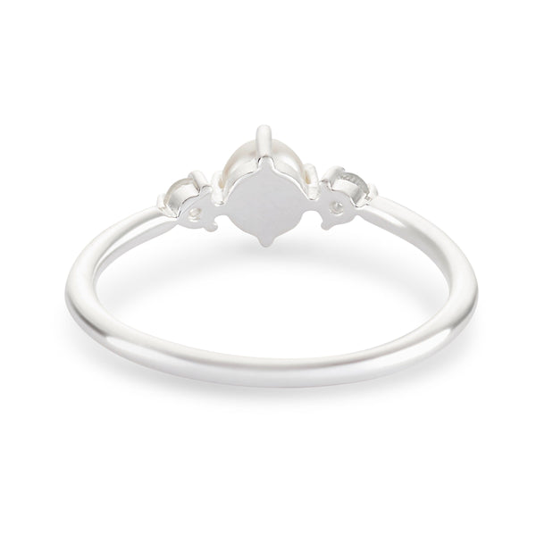 Pearl and White Sapphire Ring - Sterling Silver
