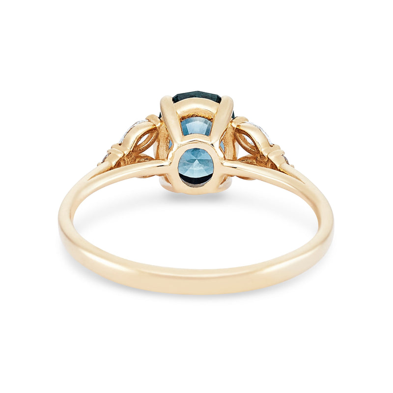Drawn to you one of a kind - ocean blue oval cut montana sapphire, 14k gold