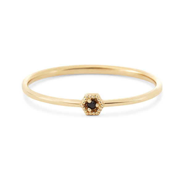 Honey Hive Ring - 14k Yellow Gold, Black Diamond