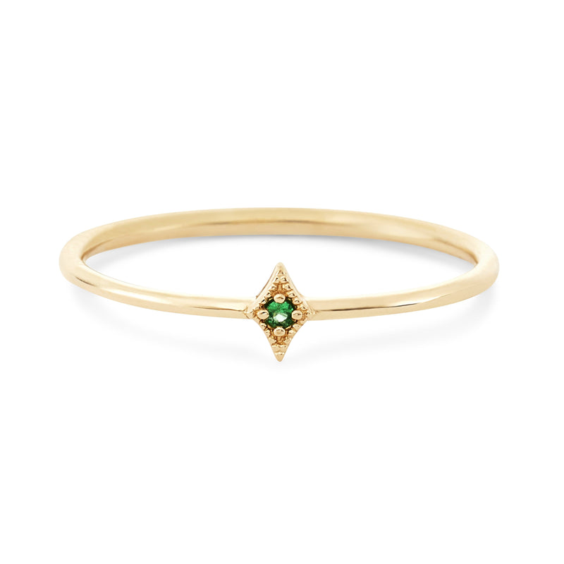 Kite Ring - 14k Yellow Gold, Emerald