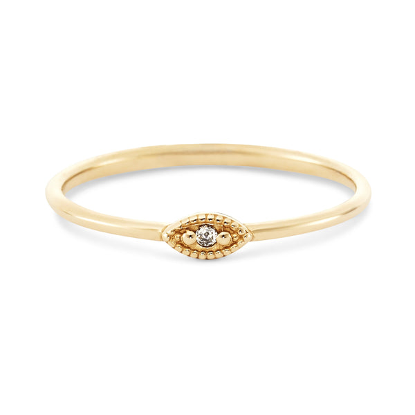 Ayla Evil Eye Ring - 14k Yellow Gold, Grey Diamond