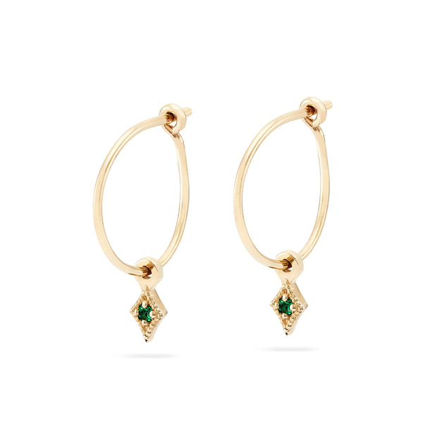 Kite Sway Hoop - 14k Yellow Gold, Emerald