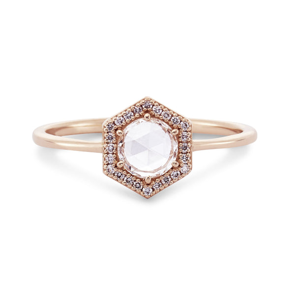 14k Rose Gold Rose Cut Diamond Capella Ring