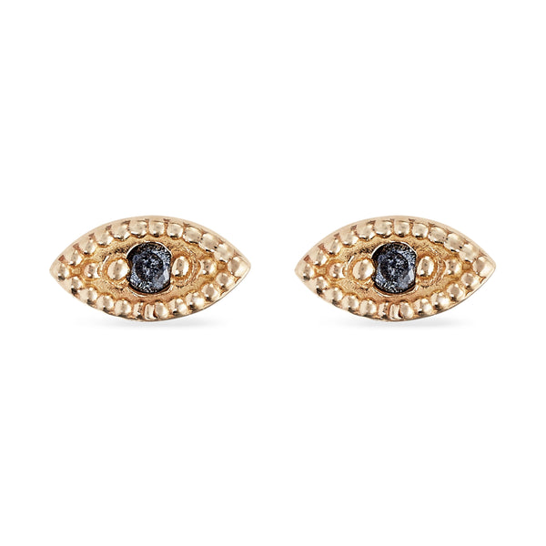 Ayla Evil Eye Earring - 14k Yellow Gold, Grey Diamond