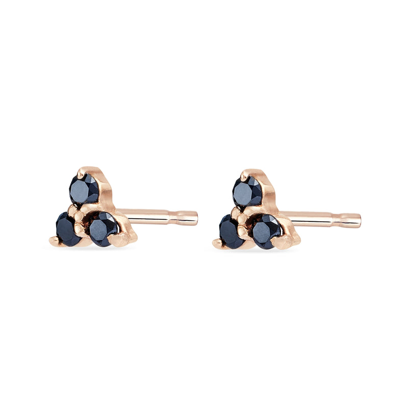 Tripod Diamond Earring - 14k Rose Gold, Black Diamond
