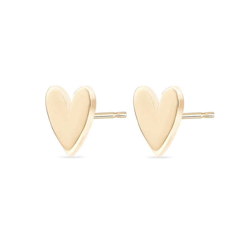 Everyday Larger Lovely Heart Earring - 14k Yellow Gold