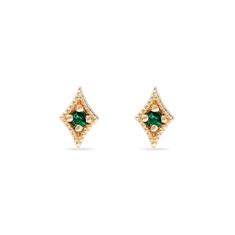 Kite Earring - 14k Yellow Gold, Emerald