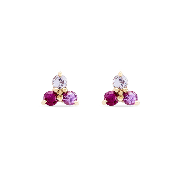 Multi Coloured Sapphire Tripod Earring - 10k/14k Yellow Gold, Pink & White Sapphire