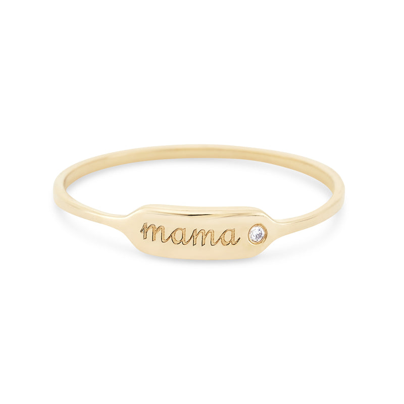 Mama Namesake Ring - 14k Rose Gold, White Diamond