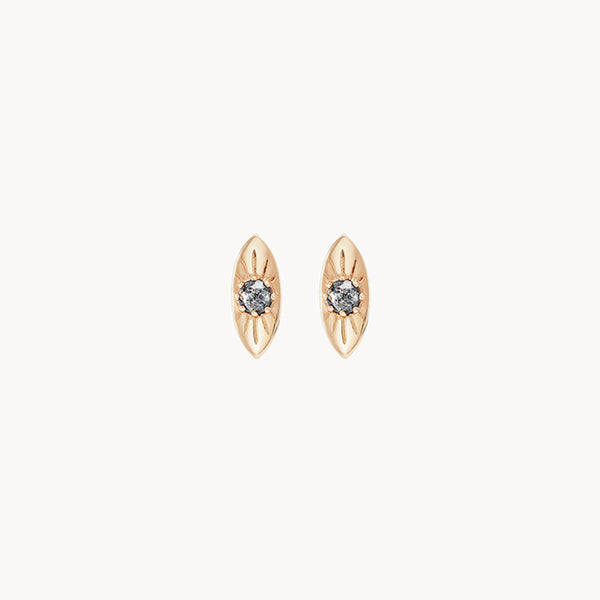 Theia Evil Eye Earring - 14k Yellow Gold, Grey Diamond