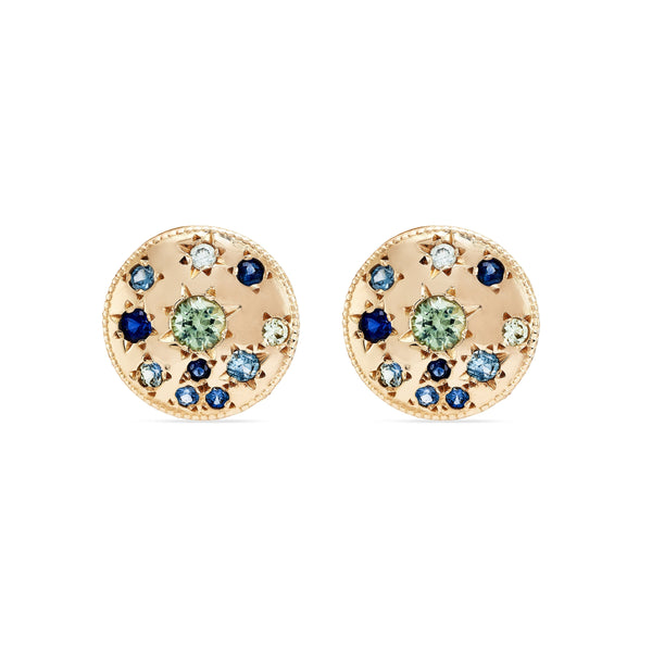 Tie Dye Moon Child Medallion Earring - 14k Yellow Gold, Blue Sapphire