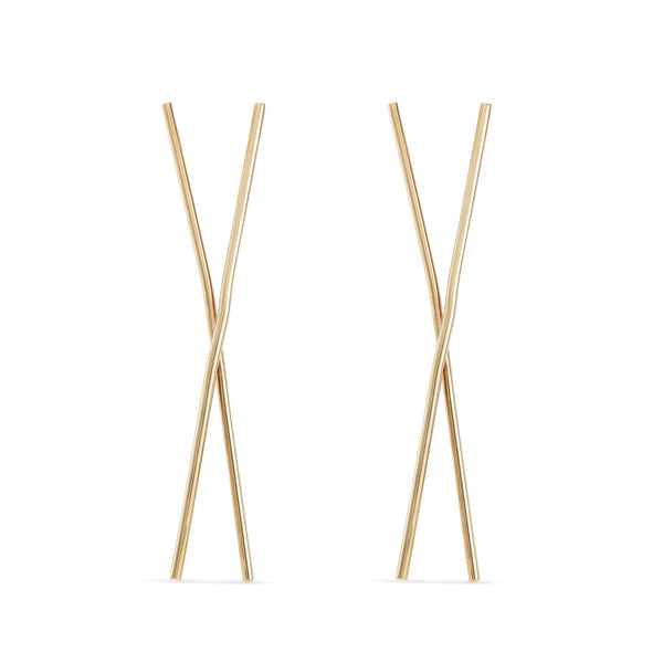 Chopstick Earring - 14k Yellow Gold