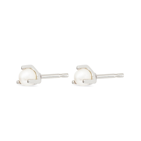 Three-prong Freshwater Pearl Earrings - Sterling Silver