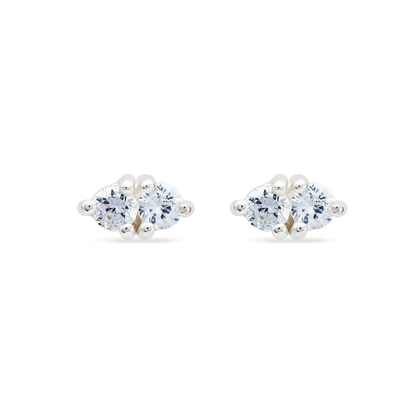 Tiny Double Stone White Sapphire Earring - Sterling Silver