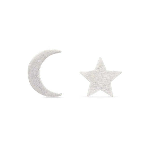 Moon and Star Earrings - Sterling Silver