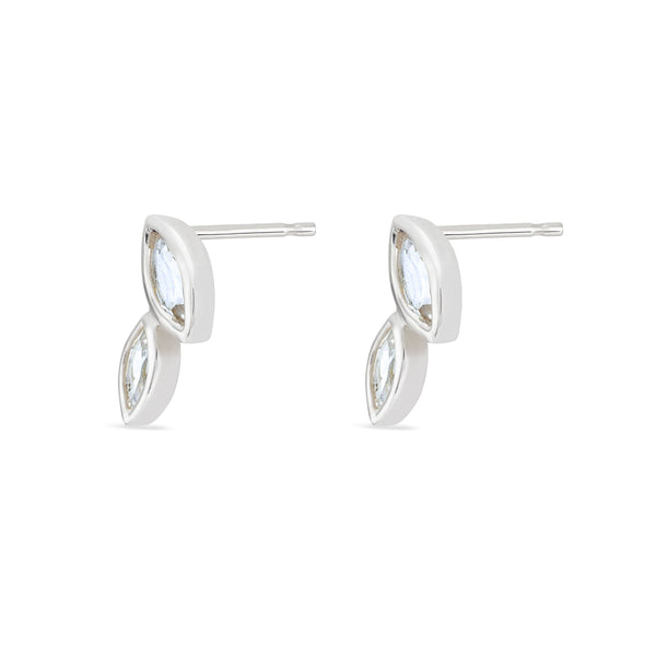 Double Marquis White Topaz Earrings - Sterling Silver