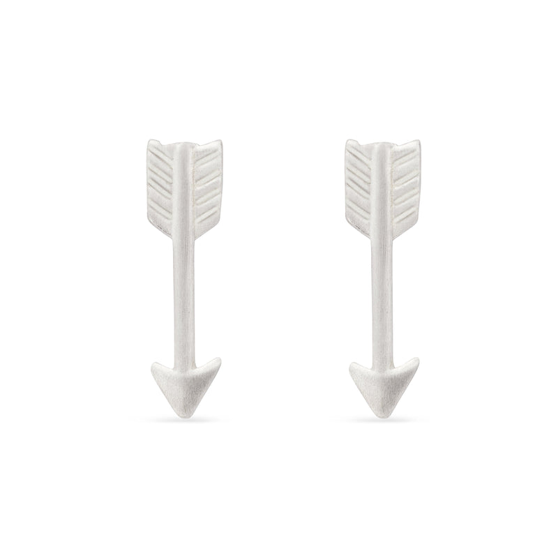 tiny brushed arrow studs - Sterling Silver