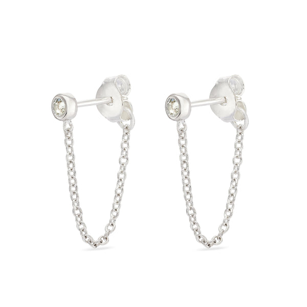 white topaz studs with chain - Sterling Silver