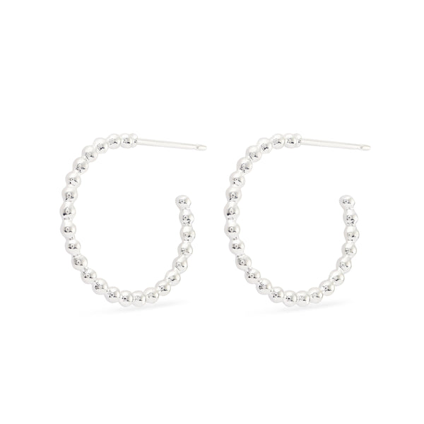 Bubble Hoop Earrings - Sterling Silver