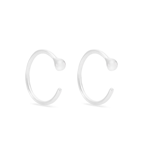 Plain Hug Earrings -Sterling Silver