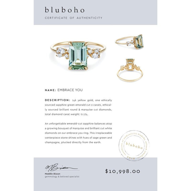 embrace you one of a kind - sapphire green emerald cut, 14k gold