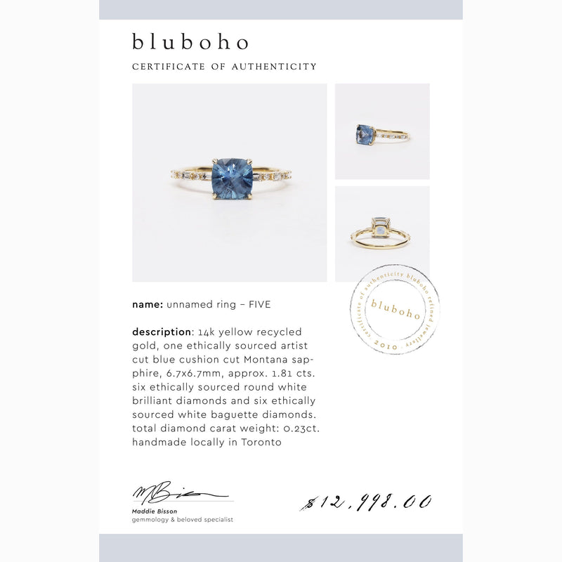 One of a Kind Unnamed Ring Five - 14k Yellow Gold, Blue Sapphire