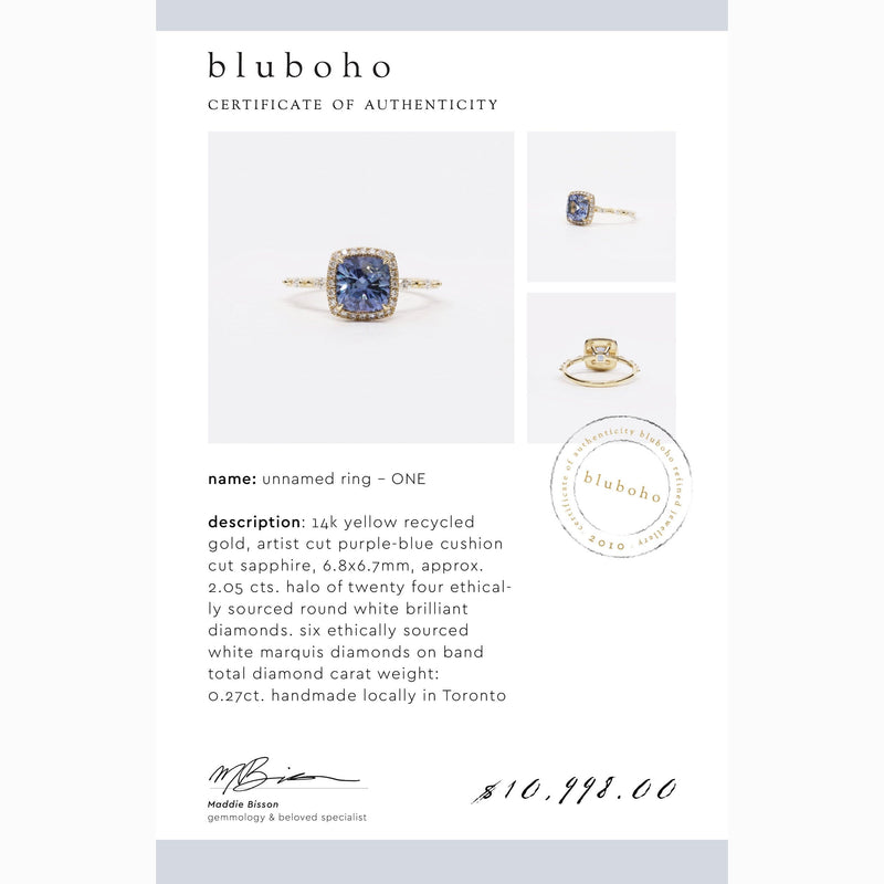 One of a Kind Unnamed Ring One - 14k Yellow Gold, Blue Sapphire