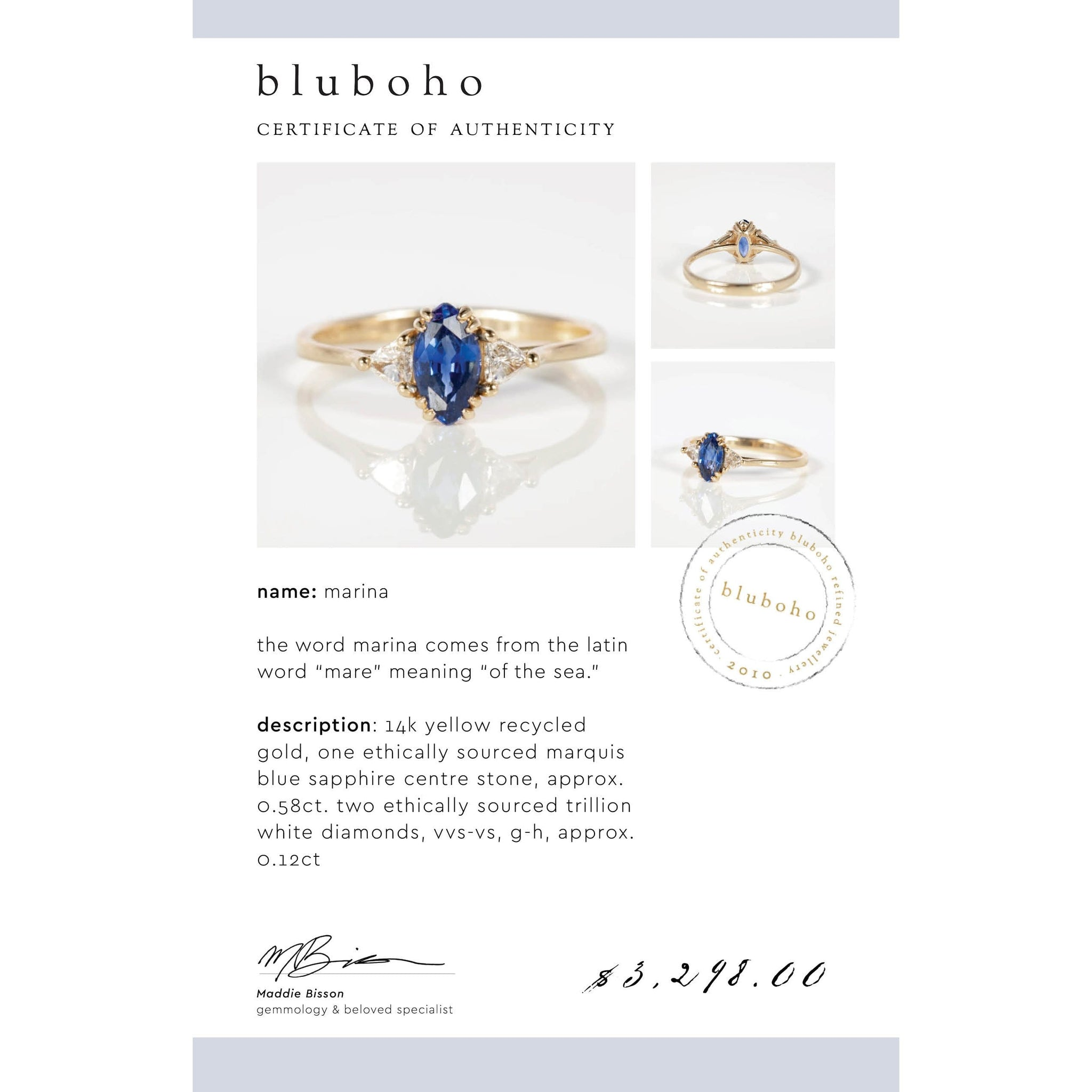 One of a Kind Marina Ring - 14k Yellow Gold, Blue Sapphire, White Diamond