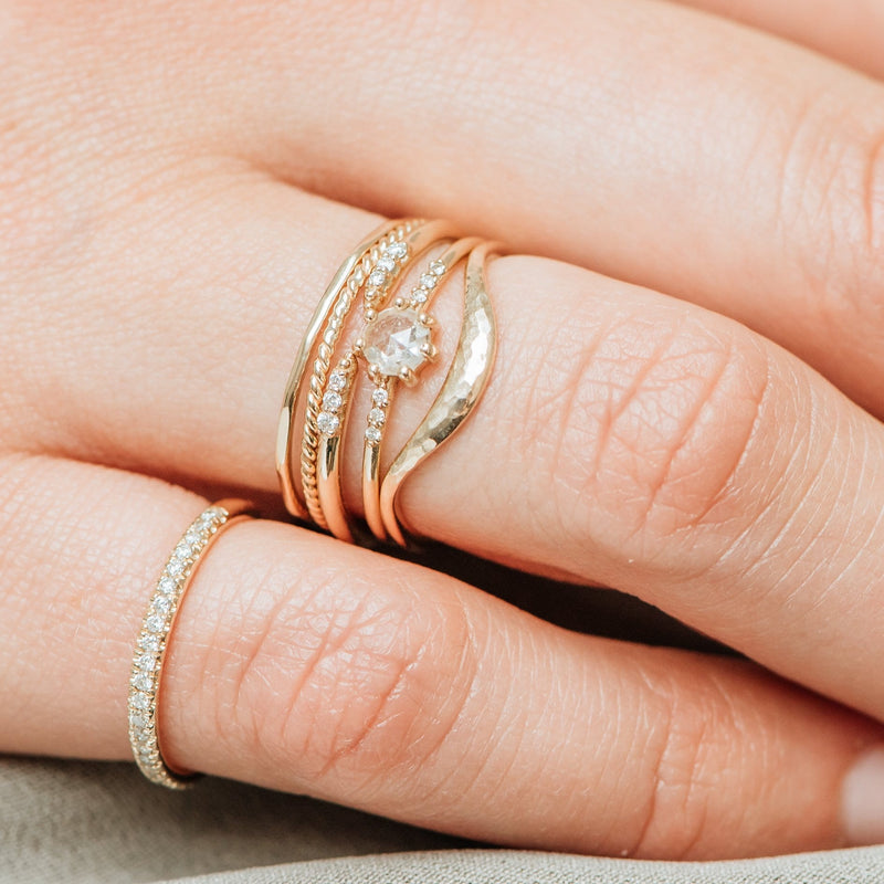 Rose Gold Supernova Ring - 14k Rose Gold, White Diamond
