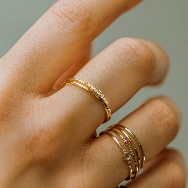 Rose Gold Horizon Ring - 14k Rose Gold, White Diamond