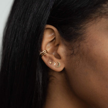 everyday little crescent moon earring on body}