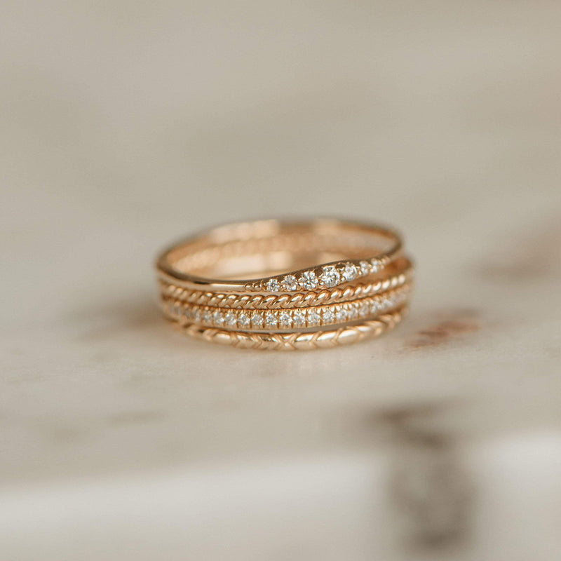 Horizon Ring - 14k Yellow Gold, White Diamond