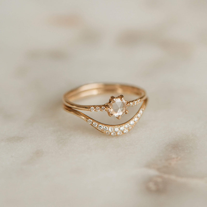 Moonlight Ring - 14k Yellow Gold, White Diamond