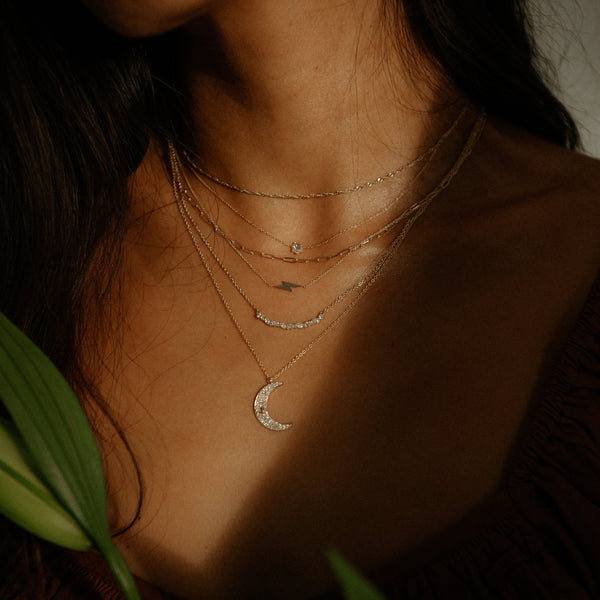 Everyday Little Lightning Bolt Necklace - 14k Yellow Gold