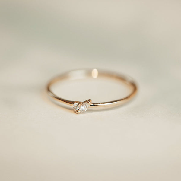 Lean On Me Ring - 14k Yellow Gold, White Diamond