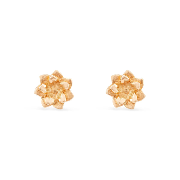 Dahlia Flower Earrings - 14k Yellow Gold