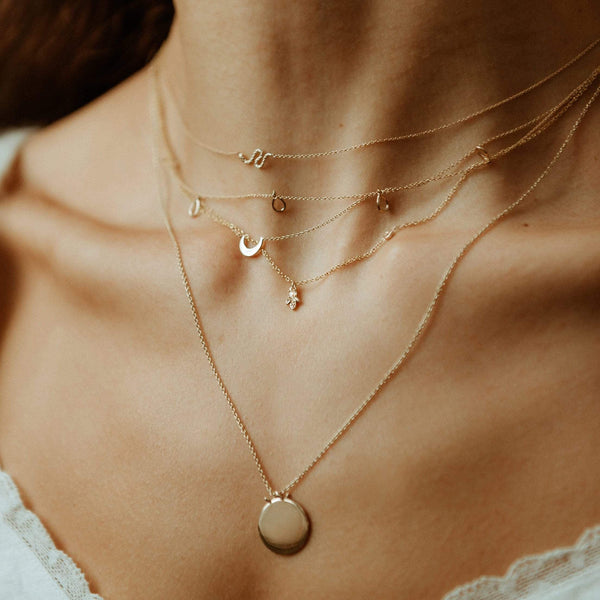 Honey Bee Necklace - 14k Yellow Gold, White Diamond