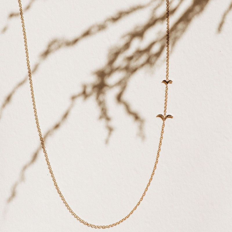 Flying Together Necklace - 14k Yellow Gold