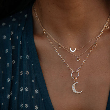 crescent charm + inseparable essence necklace duo on body}