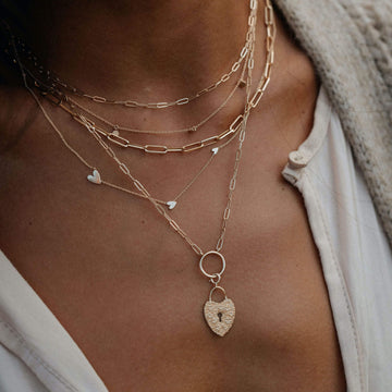 everyday love lineage heart necklace on body}