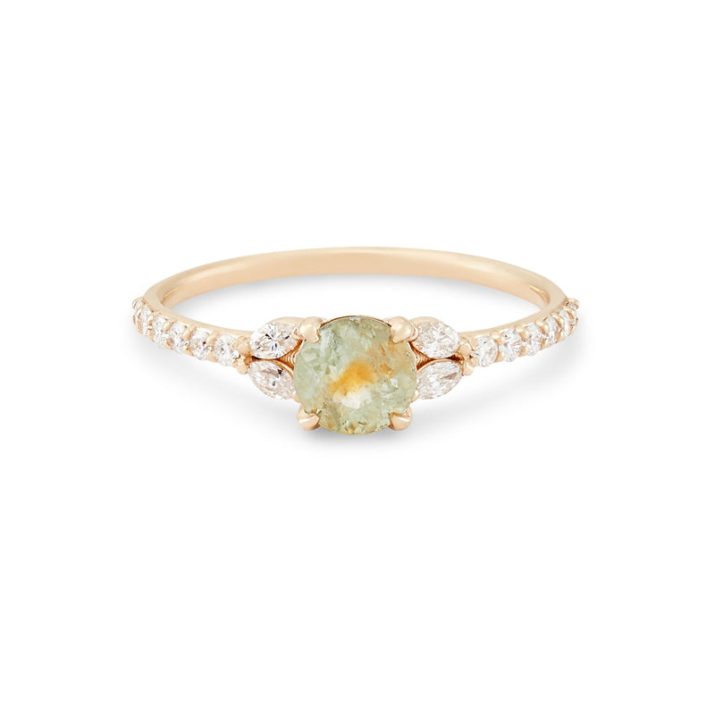 Earthshine One Of A Kind - 14k Yellow Gold, bicolour green-amber Sapphire