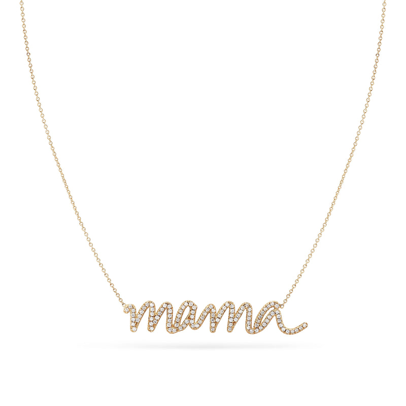 Diamond Mama Necklace - 14k Yellow Gold