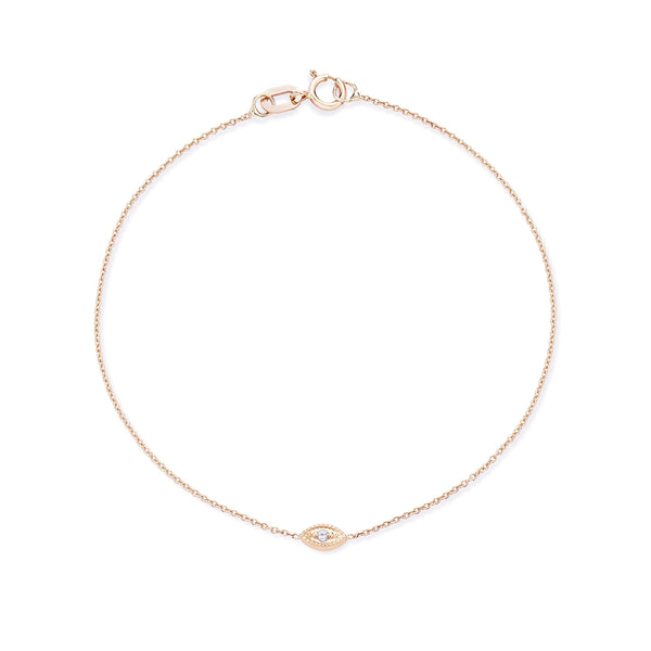 Ayla Evil Eye Bracelet - 14k Rose Gold, Grey Diamond
