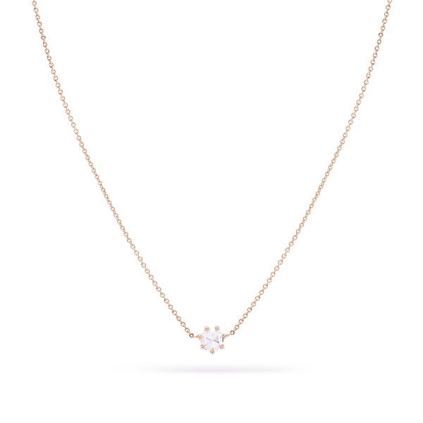 Supernova Necklace - 14k Rose Gold, White Diamond