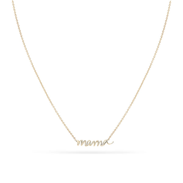 Mama Script Necklace - 14k Yellow Gold
