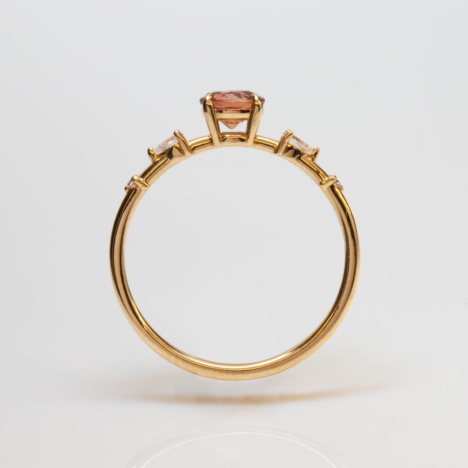 One of a Kind Daybreak Dahlia Ring - 14k Yellow Gold, Peach Sapphire, White Diamond