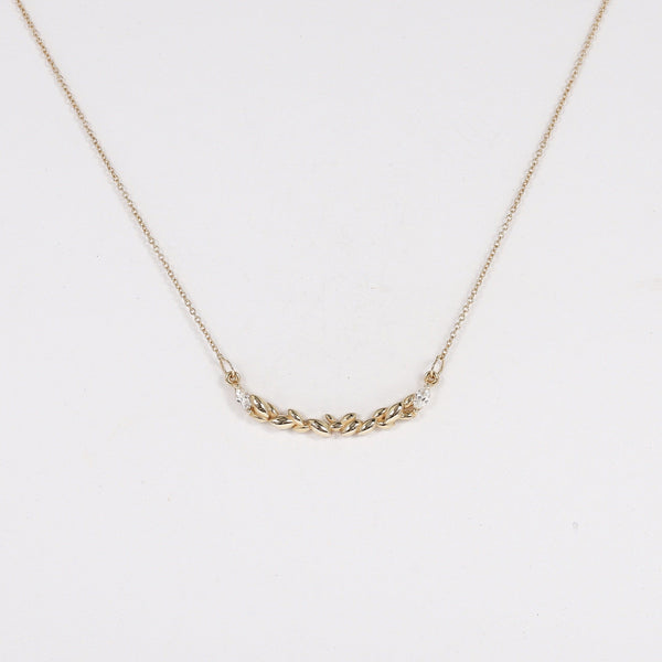fall in love Necklace - 14k Yellow Gold, white diamond
